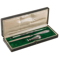 Late 19th Century Silver Desk Set, Letter Opener, Fountain Pen, Letter Seal