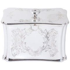 Late 19th Century Silver Plate Edwardian Tea Caddy Box