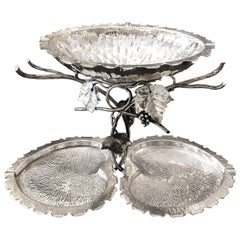 Original Silver Plated English Grapes Display Stand Late 19th Century