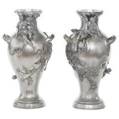 Late 19th Century Silver Plated Pair of Vases / Urns