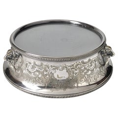 Late 19th Century Silver Plated Round Mirrored Plateau
