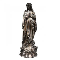 Late 19th Century Silver Statue of the Blessed Virgin Mary