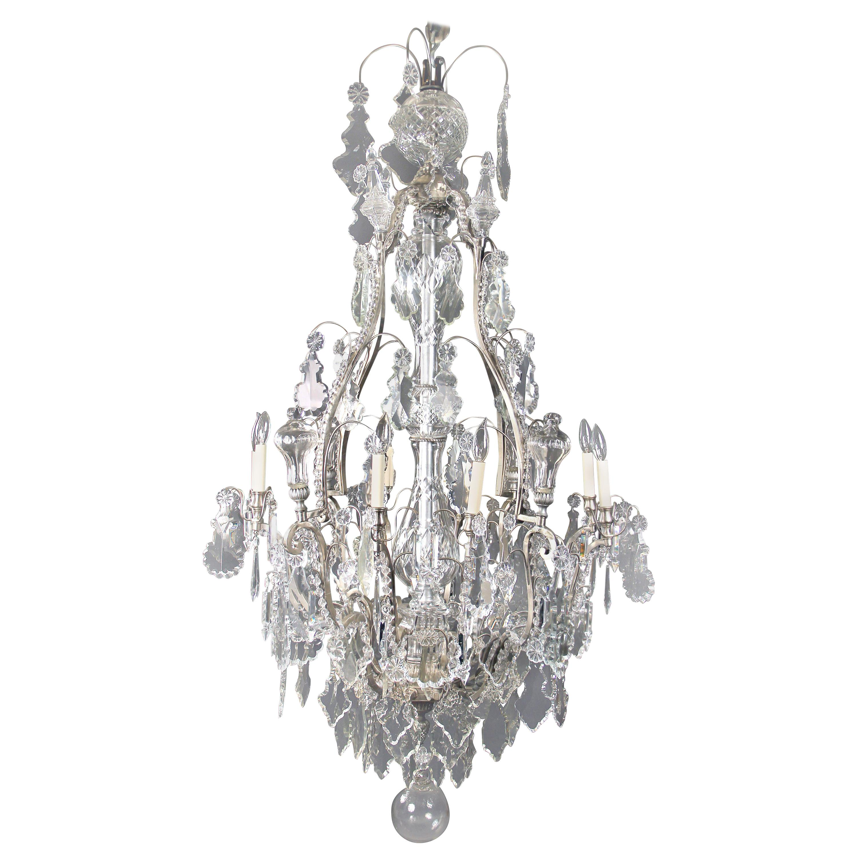 Late 19th Century Silvered Bronze and Crystal Eight Light Chandelier