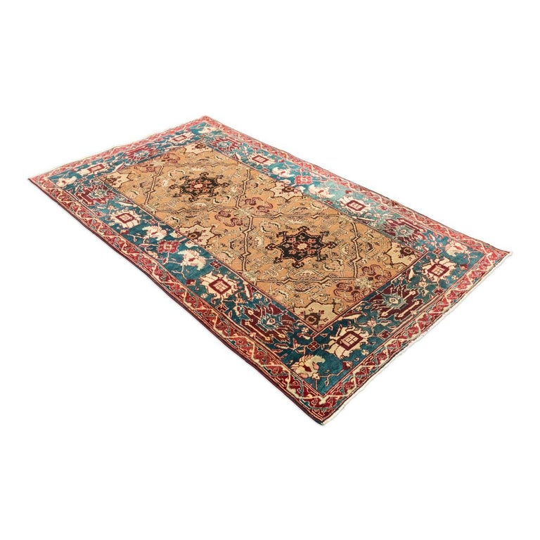 Indian Late 19th Century Small Green India Wool Rug, Classical Agra, circa 1890 For Sale