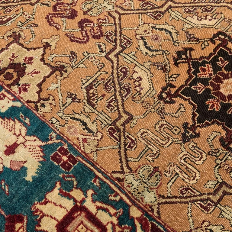 Late 19th Century Small Green India Wool Rug, Classical Agra, circa 1890 For Sale 1