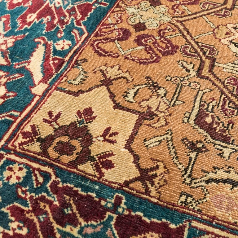 Late 19th Century Small Green India Wool Rug, Classical Agra, circa 1890 For Sale 2