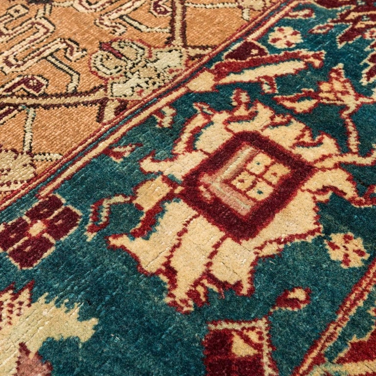 Late 19th Century Small Green India Wool Rug, Classical Agra, circa 1890 For Sale 3