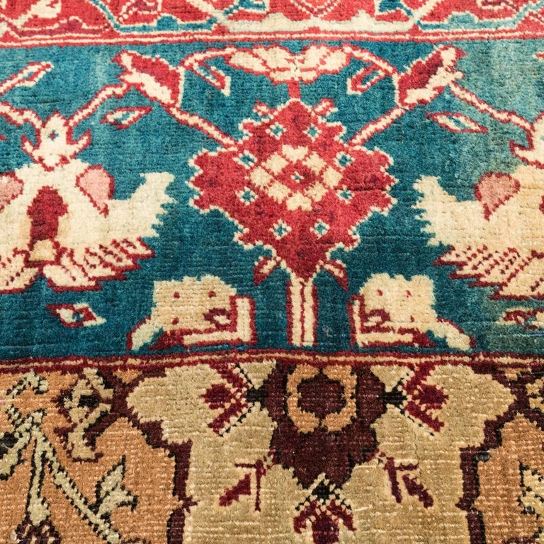 Late 19th Century Small Green India Wool Rug, Classical Agra, circa 1890 For Sale 4