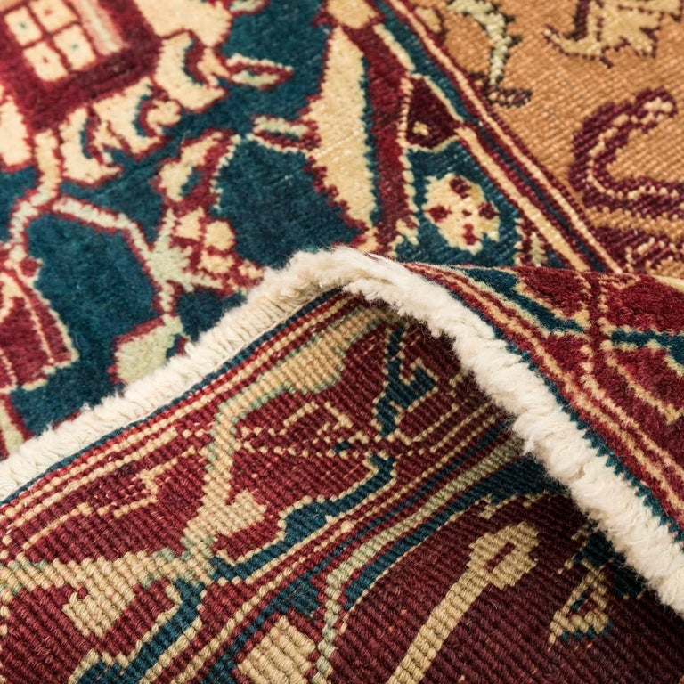 Late 19th Century Small Green India Wool Rug, Classical Agra, circa 1890 For Sale 5