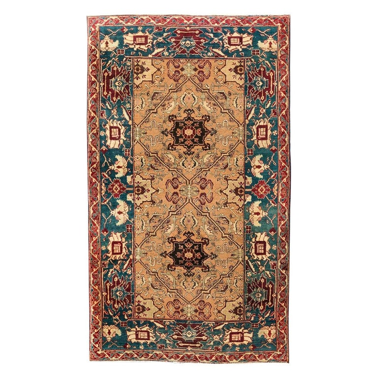 Late 19th Century Small Green India Wool Rug, Classical Agra, circa 1890 For Sale