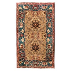 Late 19th Century Small Green India Wool Rug, Classical Agra Design, circa 1890