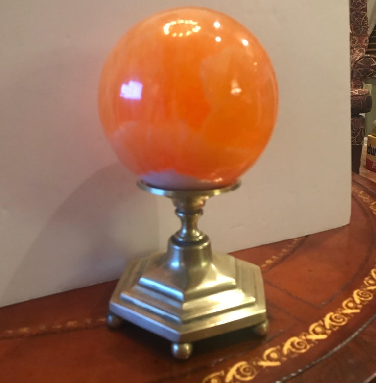 Late 19th Century Solid Agate Sphere and Cast Brass Stand For Sale 1
