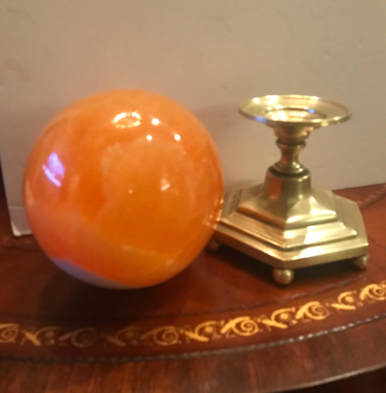 Late 19th Century Solid Agate Sphere and Cast Brass Stand For Sale 4