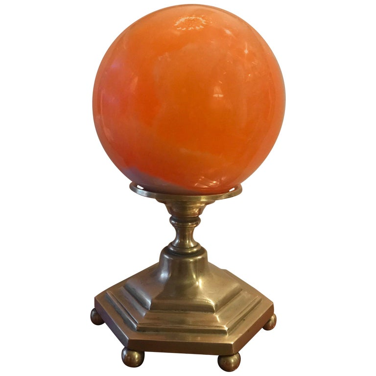 Late 19th Century Solid Agate Sphere and Cast Brass Stand For Sale