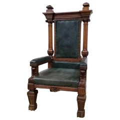 Late 19th Century Solid Oak & Leather Upholstered Grand Masters Chair