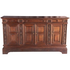 Late 19th Century Solid Teak Wood Superbly Handcrafted French Colonial Buffet