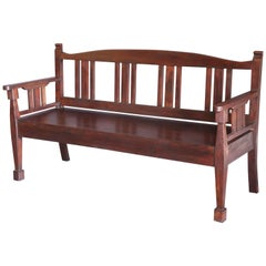 Late 19th Century Solid Teak Wood Typical Tea Plantation Bench from Darjeeling
