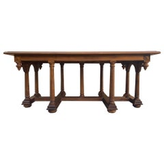 Late 19th Century Spanish Carved Coffee table with Wood Stretchers