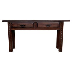 Late 19th Century Spanish Console Table with Drawers and Carved Legs