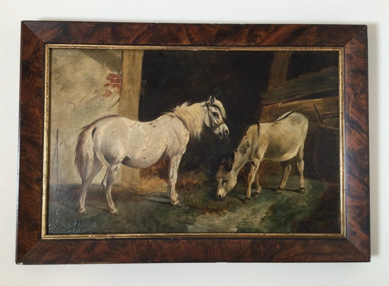 Stable scene oil painting on board, late 19th century. Interesting background with money and donkey. Measures: 21 1/2