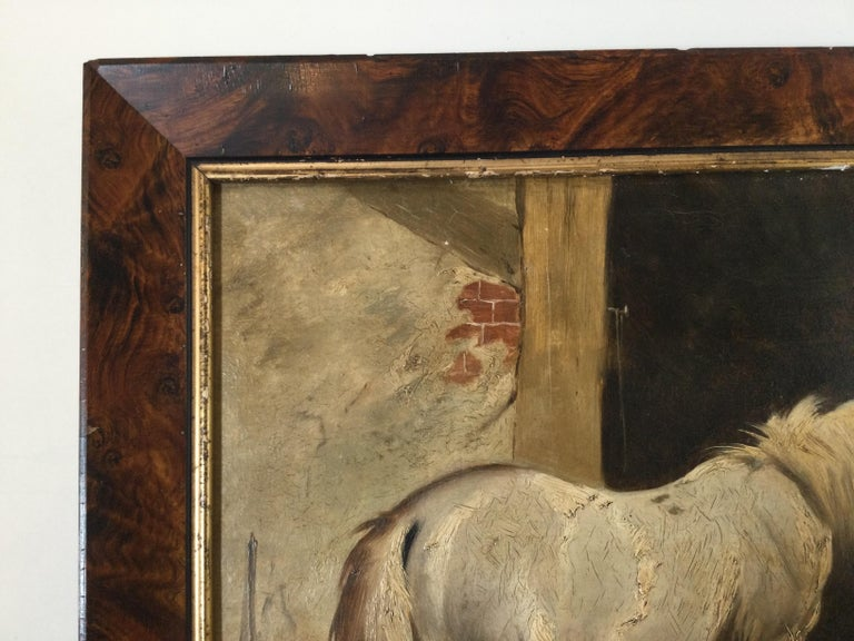 Unknown Late 19th Century Stable Scene Oil Painting on Board For Sale