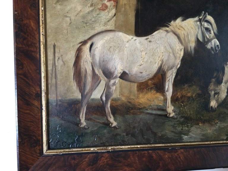 Hand-Painted Late 19th Century Stable Scene Oil Painting on Board For Sale