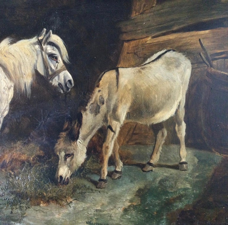 Late 19th Century Stable Scene Oil Painting on Board In Good Condition For Sale In Lambertville, NJ