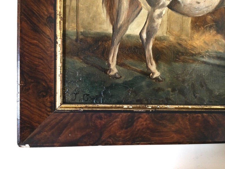 Late 19th Century Stable Scene Oil Painting on Board For Sale 1
