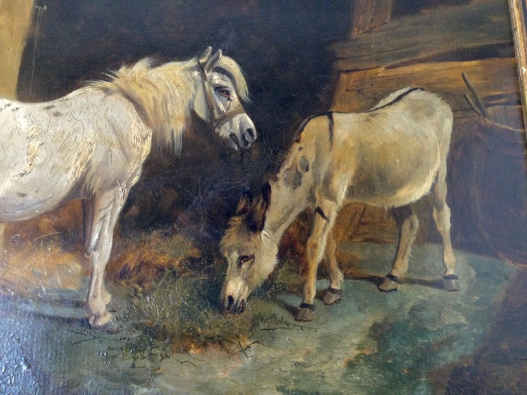 Late 19th Century Stable Scene Oil Painting on Board For Sale 3