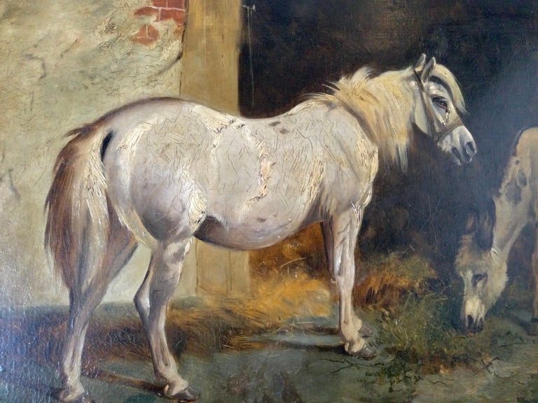 Late 19th Century Stable Scene Oil Painting on Board For Sale 4