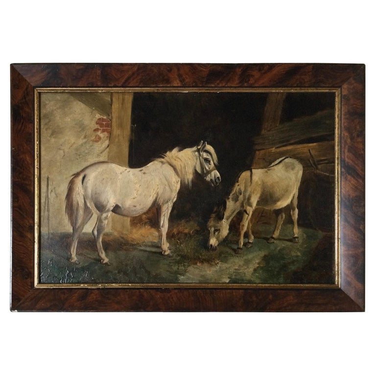 Late 19th Century Stable Scene Oil Painting on Board For Sale