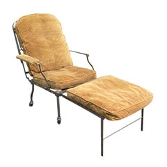 Late 19th Century Steel Adjustable Lounge Chair / Chaise