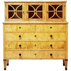 Late 19th Century Swedish Birch Art Nouveau Cabinet on Chest