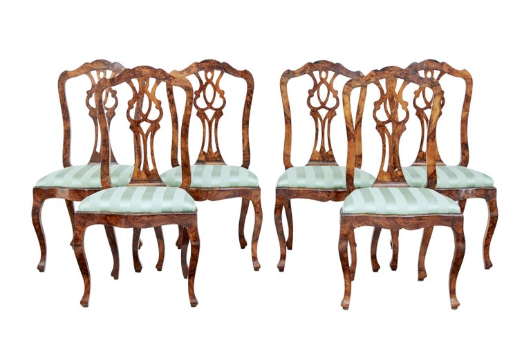 Late 19th Century Swedish Burr Walnut Dining Table and 6 Chairs For Sale 4