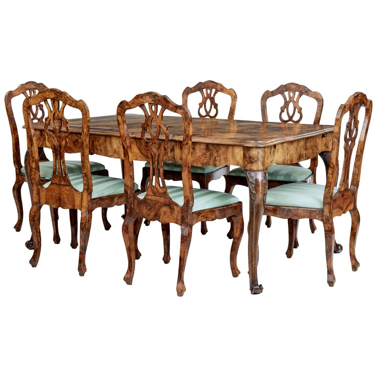 Late 19th Century Swedish Burr Walnut Dining Table and 6 Chairs For Sale