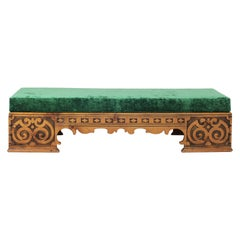 Late 19th Century Swedish Carved Pine Bench