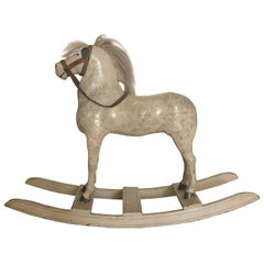 Late 19th Century Swedish Toy Rocking Horse in Painted White Wood