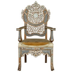 Late 19th Century Syrian Chair with Arabesque Mother-of-Pearl and Abalone Inlays
