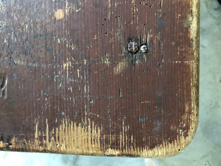 """Late 19th century table originally used in a French pub, original surface, simple form with tapered legs. Measure: (5"""" Apron)."""