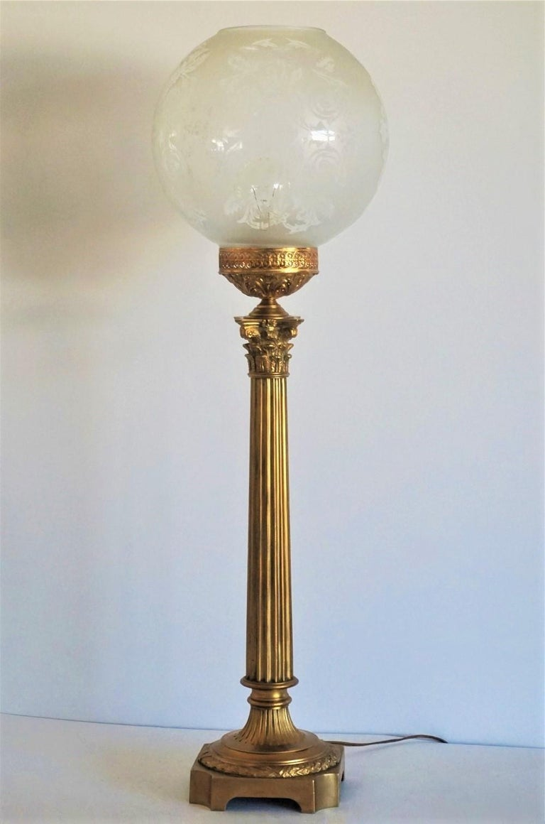 Large 19th Century Bronze Column Candelabra Table Lamp 10