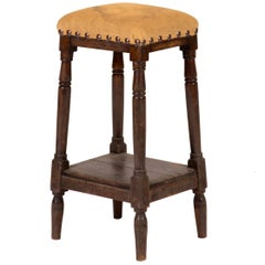 Late 19th Century Tall Upholstered English Stool with Bottom Shelf