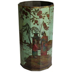 Late 19th Century Tin Container or Bin with Colored Oriental Figure Scene