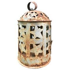 Late 19th Century Tin Lantern with Star Designs