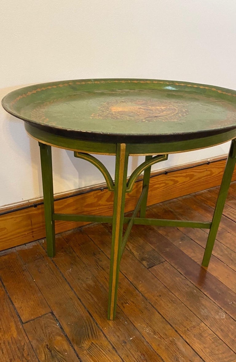 English Late 19th Century Tole Tray Mounted as Side Table For Sale