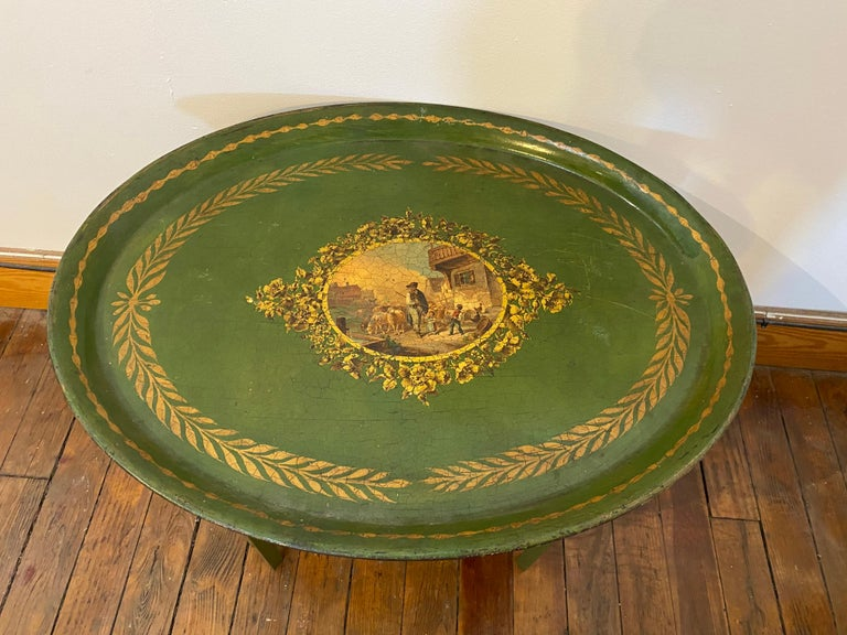 Late 19th Century Tole Tray Mounted as Side Table In Good Condition For Sale In Charleston, SC