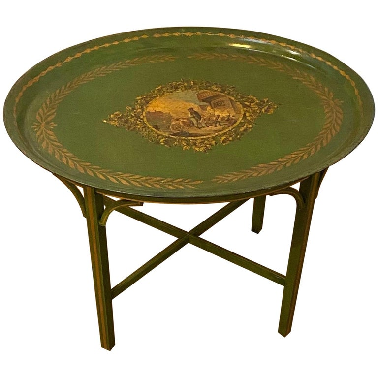 Late 19th Century Tole Tray Mounted as Side Table For Sale