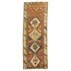 Late 19th century Tribal Rustic Color Narrow Short Persian Runner