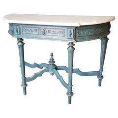 Late 19th Century Turquoise Colored Mahogany Side Table with White Marble Top