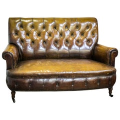 Late 19th Century Two-Seat Leather Chesterfield Sofa