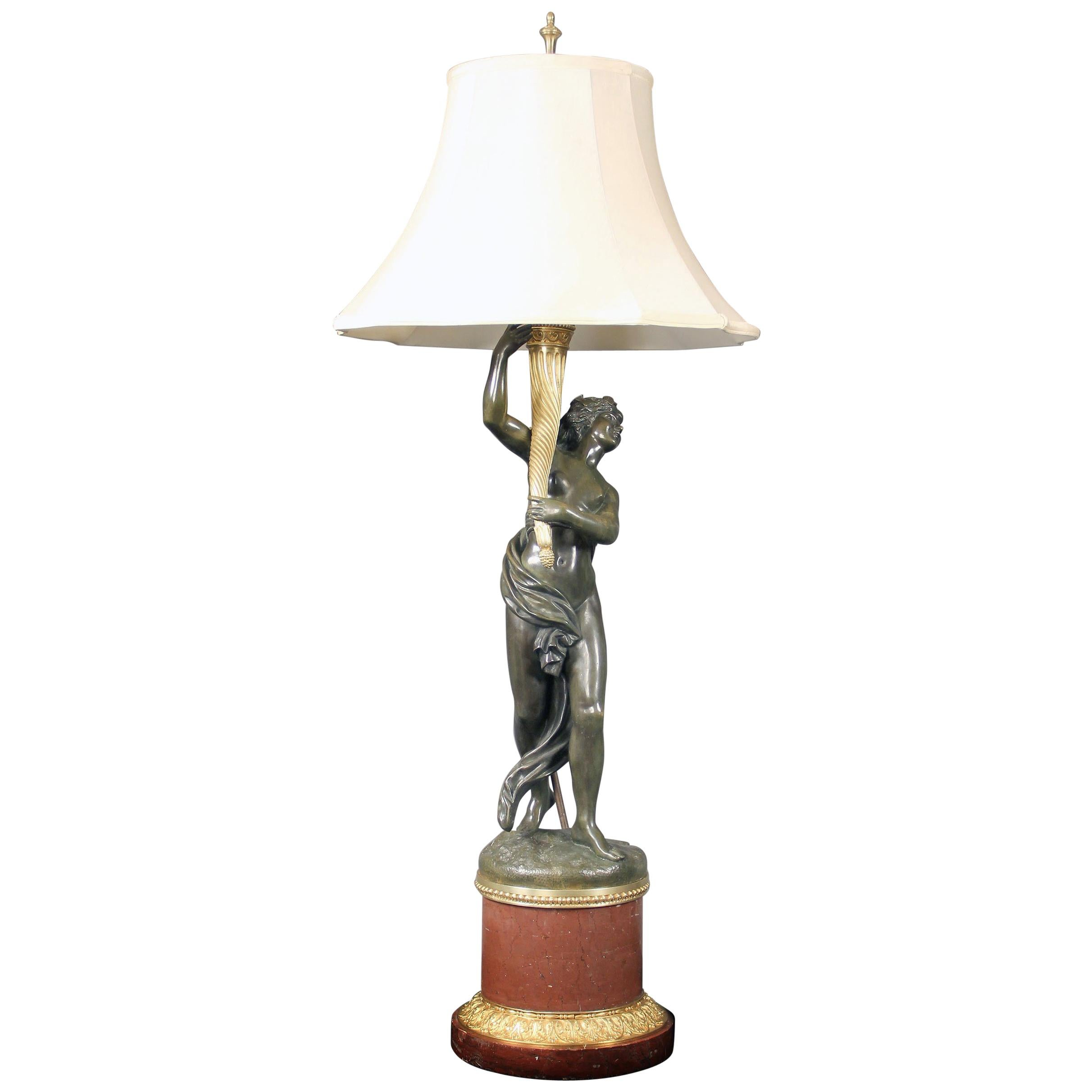 Late 19th Century Two-Tone Bronze Lamp after Clodion